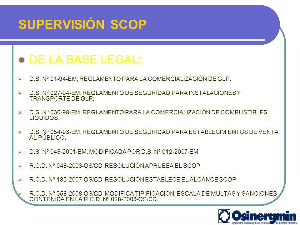 DE LA BASE LEGAL: D.S. Nº 01-94-EM, REGLAMENTO PARA LA COMERCIALIZACIÓN DE GLP. D.S. Nº 027-94-EM, REGLAMENTO DE SEGURIDAD PARA INSTALACIONES Y TRANSP