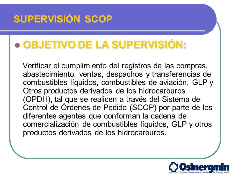 OBJETIVO DE LA SUPERVISIÓN: OBJETIVO DE LA SUPERVISIÓN: Verificar el cumplimiento del registros de las compras, abastecimiento, ventas, despachos y tr