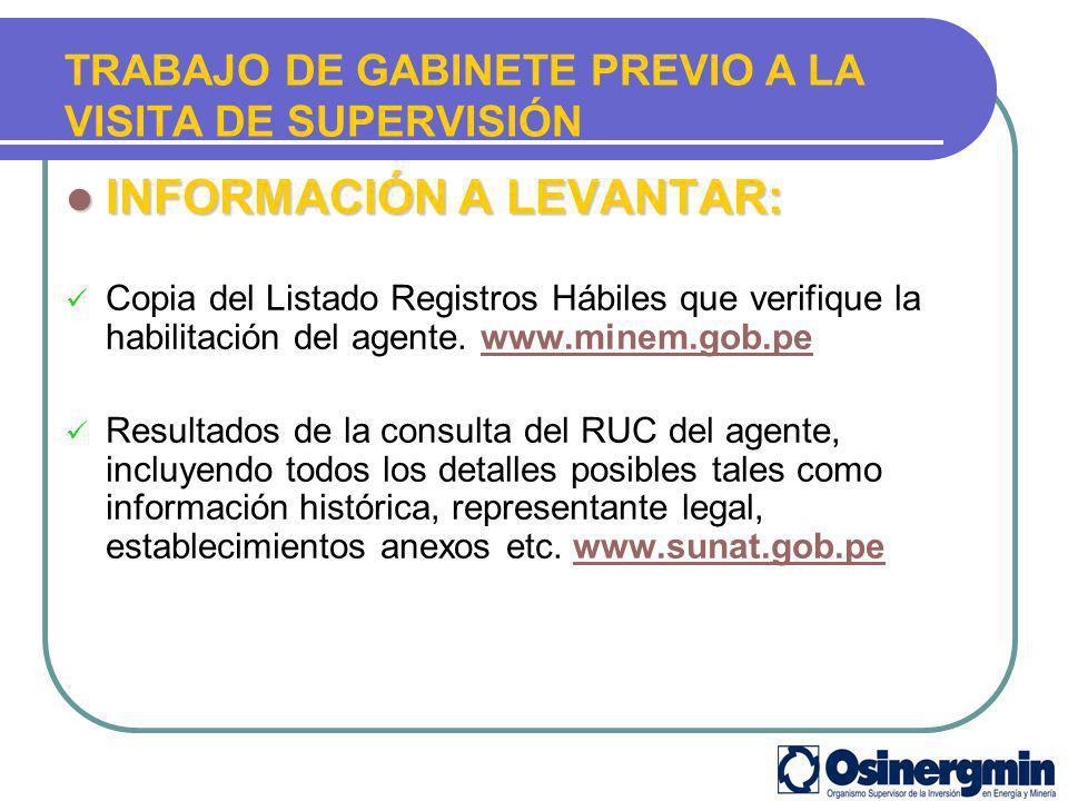 INFORMACIÓN A LEVANTAR: INFORMACIÓN A LEVANTAR: Copia del Listado Registros Hábiles que verifique la habilitación del agente. www.minem.gob.pewww.mine