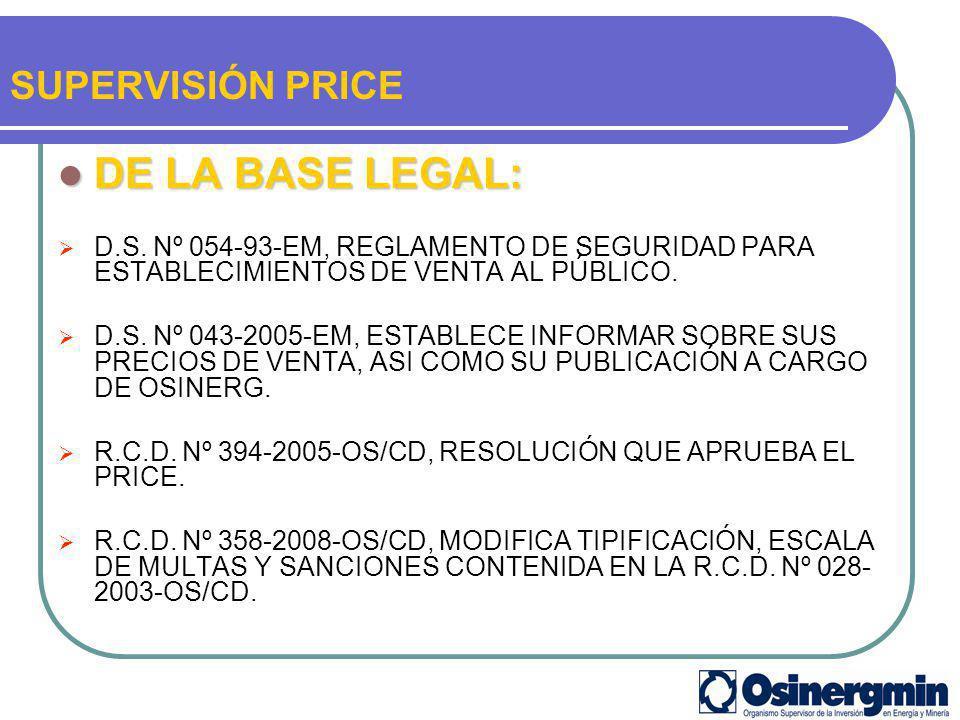 DE LA BASE LEGAL: DE LA BASE LEGAL: D.S. Nº 054-93-EM, REGLAMENTO DE SEGURIDAD PARA ESTABLECIMIENTOS DE VENTA AL PÚBLICO. D.S. Nº 043-2005-EM, ESTABLE