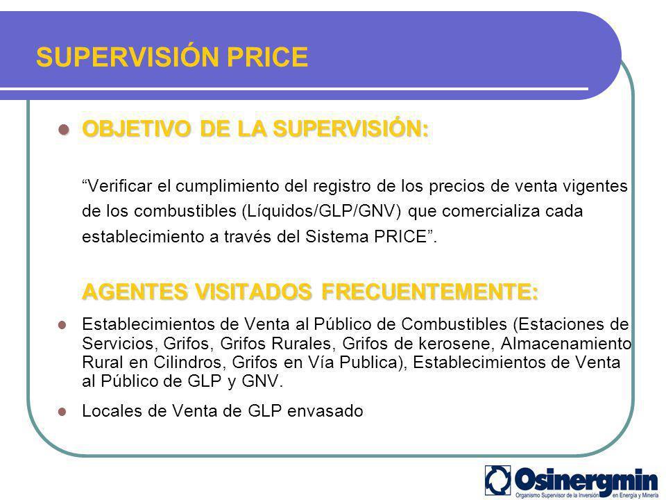 OBJETIVO DE LA SUPERVISIÓN: OBJETIVO DE LA SUPERVISIÓN: Verificar el cumplimiento del registro de los precios de venta vigentes de los combustibles (L