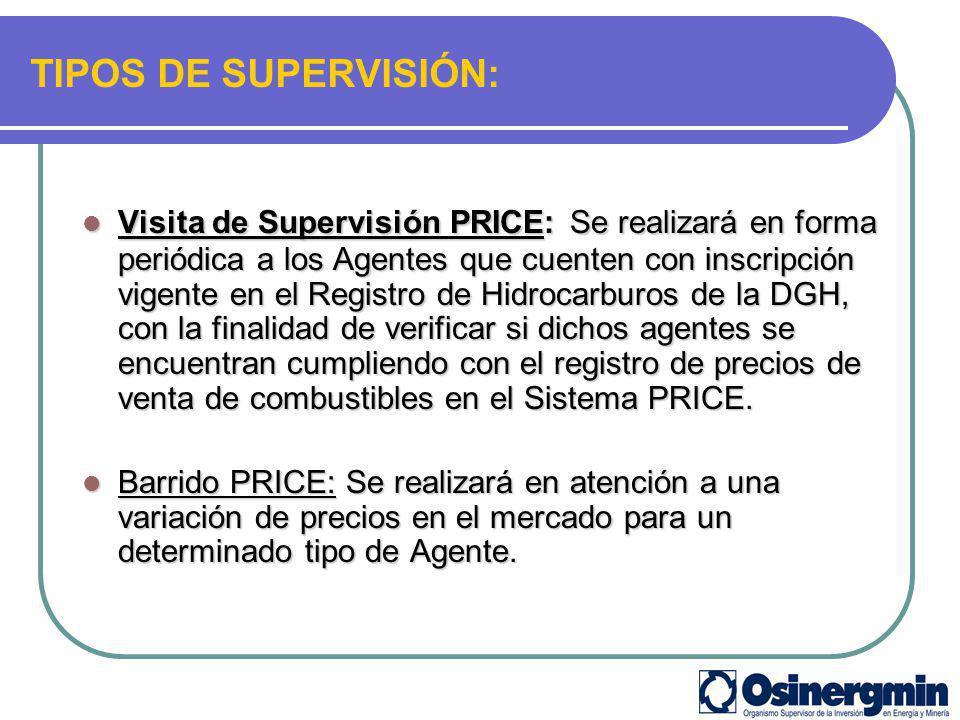TIPOS DE SUPERVISIÓN: Visita de Supervisión PRICE: Se realizará en forma periódica a los Agentes que cuenten con inscripción vigente en el Registro de