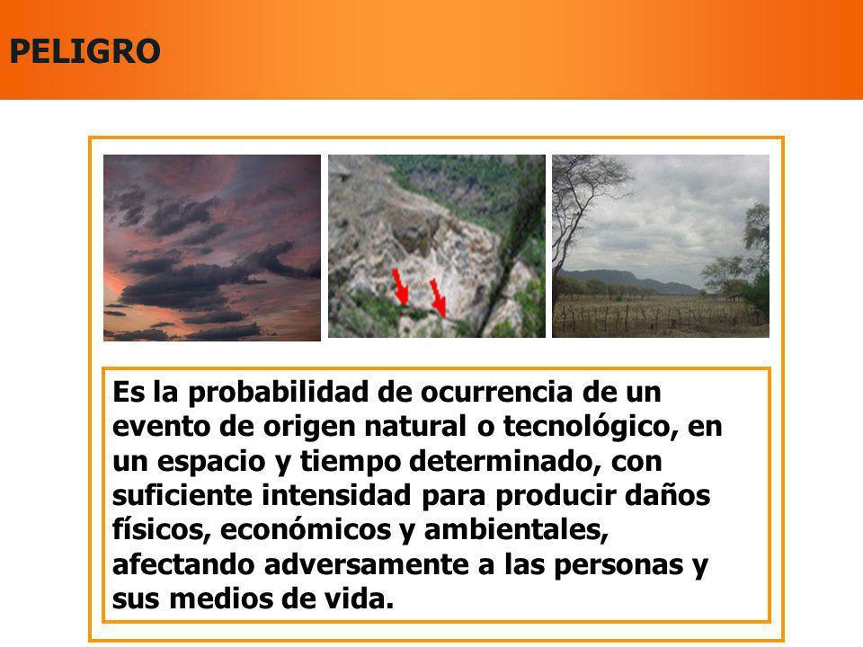 Son factores de Vulnerabilidad: El grado de EXPOSICIÓN al peligro La FRAGILIDAD: nivel de resistencia y protección frente al impacto de un peligro.