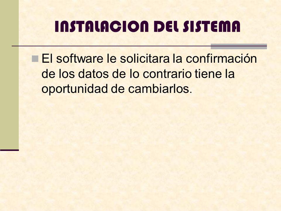 INSTALACION DEL SISTEMA