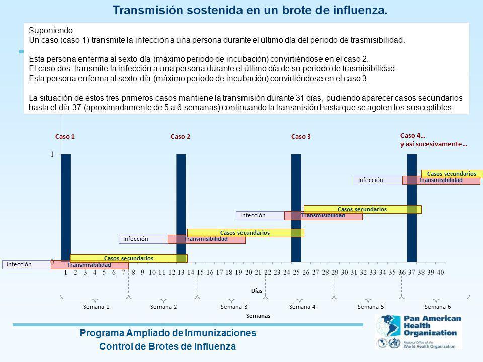 Programa Ampliado de Inmunizaciones Control de Brotes de Influenza Infección Transmisibilidad Casos secundarios Suponiendo: Un caso (caso 1) transmite