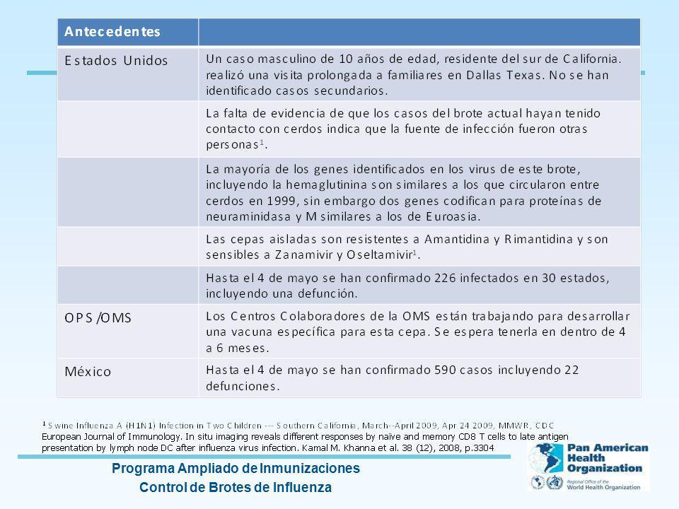 Programa Ampliado de Inmunizaciones Control de Brotes de Influenza Inmunidad colectiva