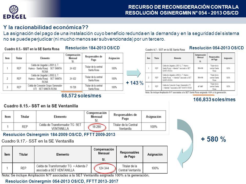+ 580 % Resolución Osinergmin 184-2009 OS/CD, FFTT 2009-2013 Resolución Osinergmin 054-2013 OS/CD, FFTT 2013- 2017 Y la racionabilidad económica?.