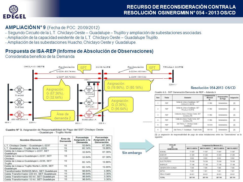 AMPLIACIÓN N° 9 ( Fecha de POC: 20/09/2012 ) - Segundo Circuito de la L.T. Chiclayo Oeste – Guadalupe – Trujillo y ampliación de subestaciones asociad
