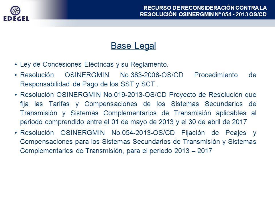 Base Legal Ley de Concesiones Eléctricas y su Reglamento. Resolución OSINERGMIN No.383-2008-OS/CD Procedimiento de Responsabilidad de Pago de los SST