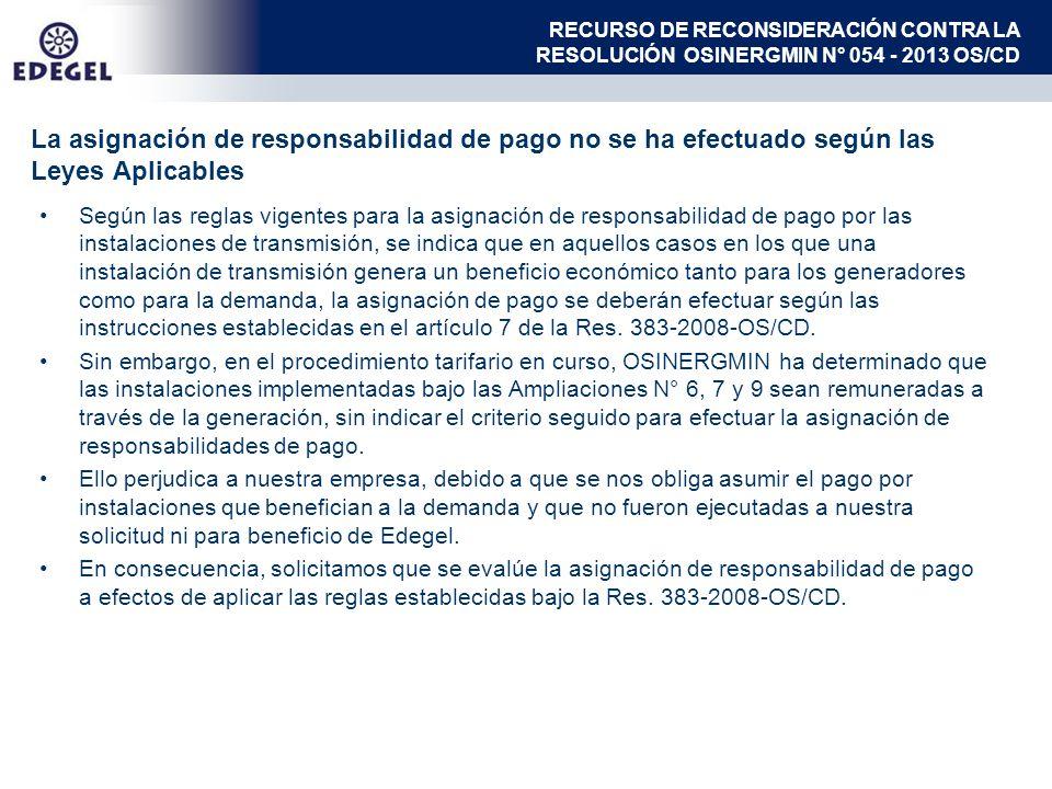 Según las reglas vigentes para la asignación de responsabilidad de pago por las instalaciones de transmisión, se indica que en aquellos casos en los q