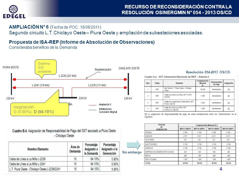 4 AMPLIACIÓN N° 6 ( Fecha de POC: 18/08/2011) Segundo circuito L.T. Chiclayo Oeste – Piura Oeste y ampliación de subestaciones asociadas. Sistema G/D