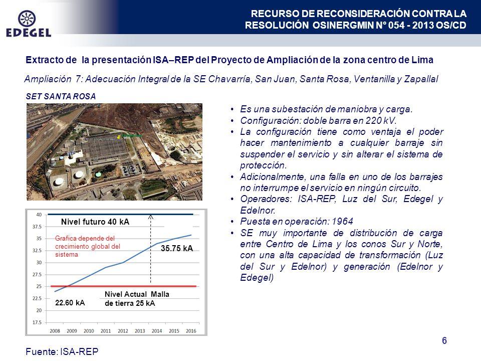 Ampliación 7: Adecuación Integral de la SE Chavarría, San Juan, Santa Rosa, Ventanilla y Zapallal 6 SET SANTA ROSA 22.60 kA 35.75 kA Nivel Actual Malla de tierra 25 kA Nivel futuro 40 kA Es una subestación de maniobra y carga.