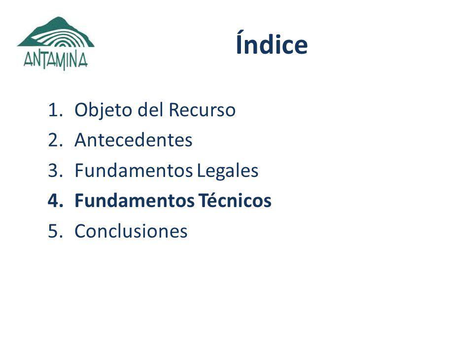 Índice 1.Objeto del Recurso 2.Antecedentes 3.Fundamentos Legales 4.Fundamentos Técnicos 5.Conclusiones