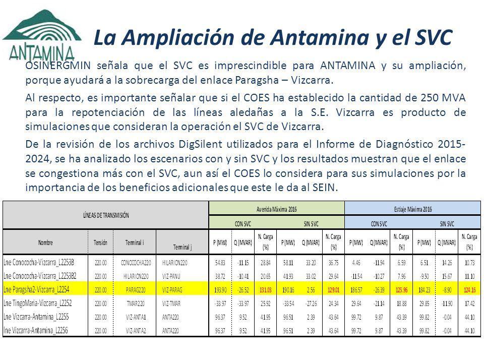 La Ampliación de Antamina y el SVC OSINERGMIN señala que el SVC es imprescindible para ANTAMINA y su ampliación, porque ayudará a la sobrecarga del enlace Paragsha – Vizcarra.