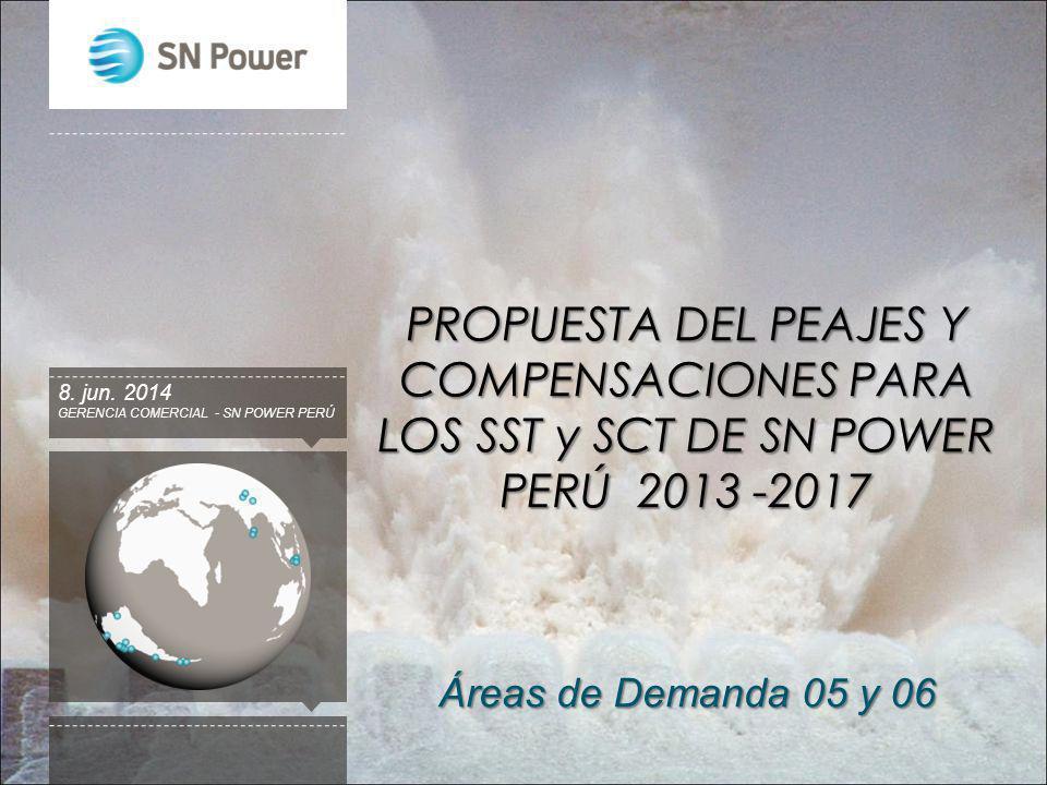 PROPUESTA DEL PEAJES Y COMPENSACIONES PARA LOS SST y SCT DE SN POWER PERÚ 2013 -2017 GERENCIA COMERCIAL - SN POWER PERÚ 8. jun. 2014 Áreas de Demanda