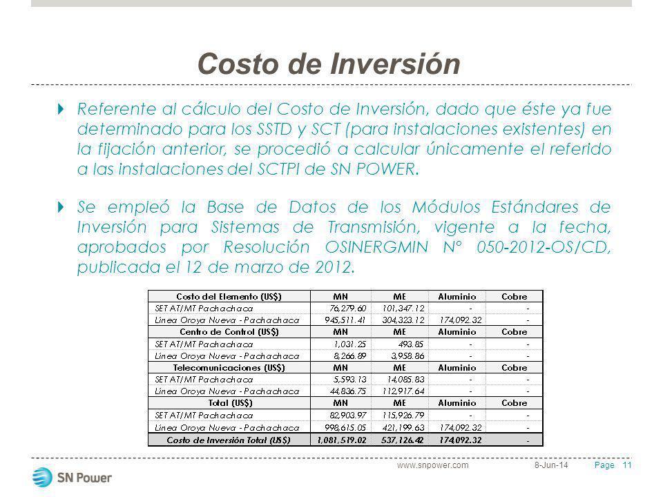 11 Page Costo de Inversión Referente al cálculo del Costo de Inversión, dado que éste ya fue determinado para los SSTD y SCT (para instalaciones exist