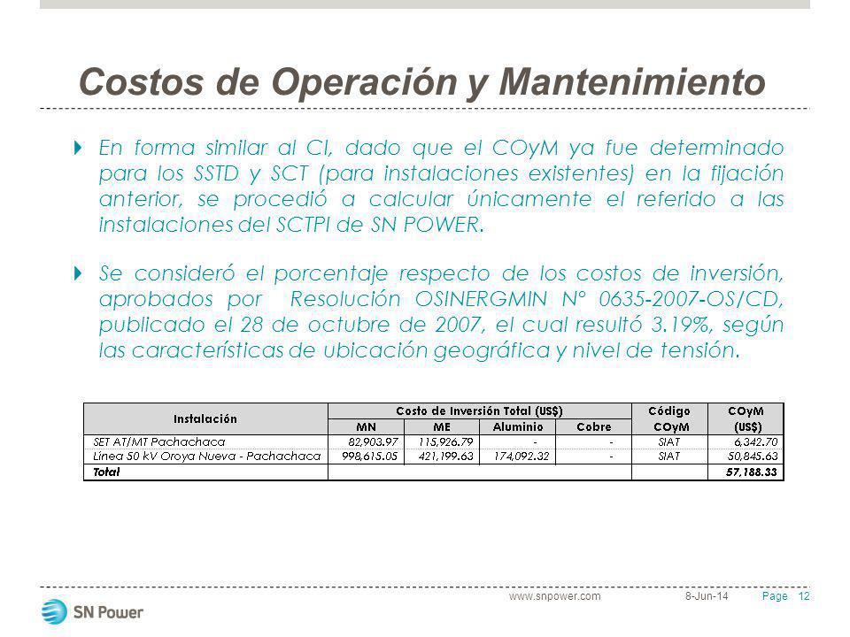 12 Page Costos de Operación y Mantenimiento En forma similar al CI, dado que el COyM ya fue determinado para los SSTD y SCT (para instalaciones existe
