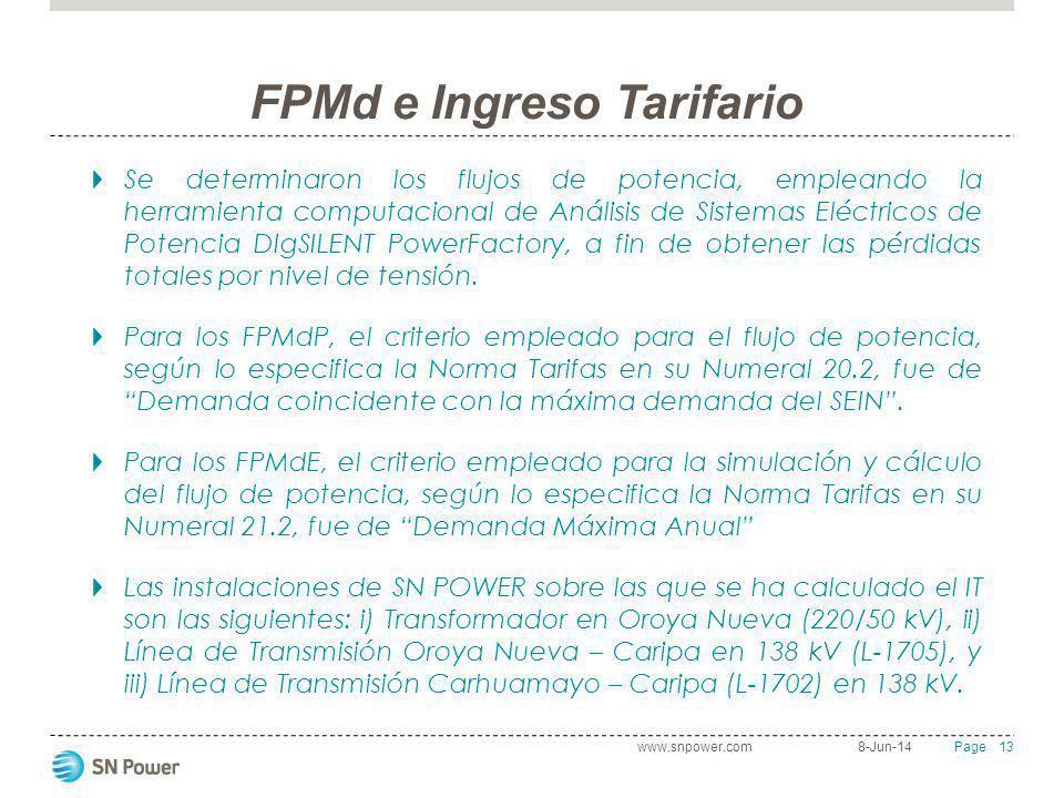 13 Page FPMd e Ingreso Tarifario Se determinaron los flujos de potencia, empleando la herramienta computacional de Análisis de Sistemas Eléctricos de