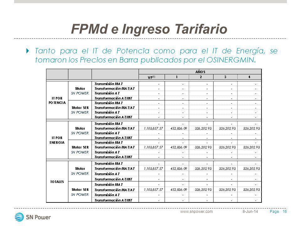 16 Page FPMd e Ingreso Tarifario 8-Jun-14www.snpower.com Tanto para el IT de Potencia como para el IT de Energía, se tomaron los Precios en Barra publ