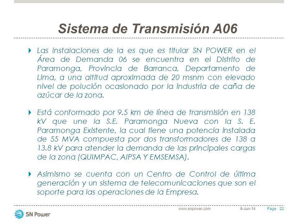 22 Page Sistema de Transmisión A06 Las instalaciones de la es que es titular SN POWER en el Área de Demanda 06 se encuentra en el Distrito de Paramong