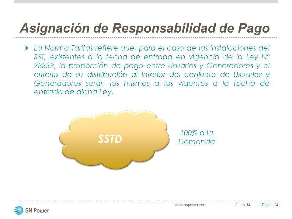 24 Page Asignación de Responsabilidad de Pago La Norma Tarifas refiere que, para el caso de las instalaciones del SST, existentes a la fecha de entrad