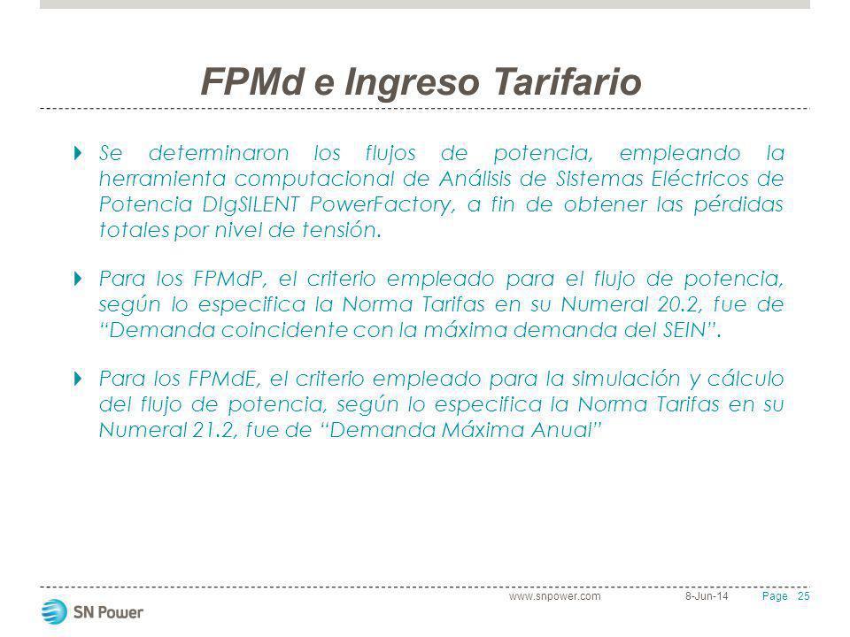 25 Page FPMd e Ingreso Tarifario Se determinaron los flujos de potencia, empleando la herramienta computacional de Análisis de Sistemas Eléctricos de