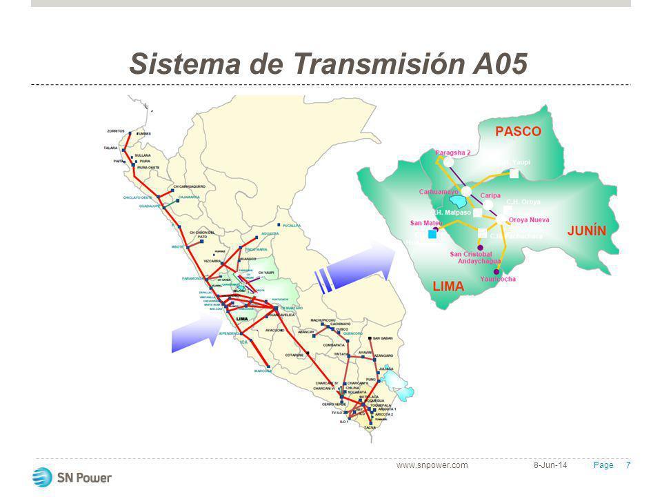 8 Page Sistema de Transmisión A05 Las instalaciones se encuentran en los Departamentos de Lima, Junín y Pasco, atravesando zonas de características muy difíciles: altitudes que varían entre 1300 a 4800 msnm con elevado nivel ceraúnico, valores de temperatura que varían entre -15 y +35 °C, vientos moderados y precipitación promedio anual de 880mm.