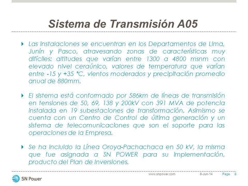 8 Page Sistema de Transmisión A05 Las instalaciones se encuentran en los Departamentos de Lima, Junín y Pasco, atravesando zonas de características mu