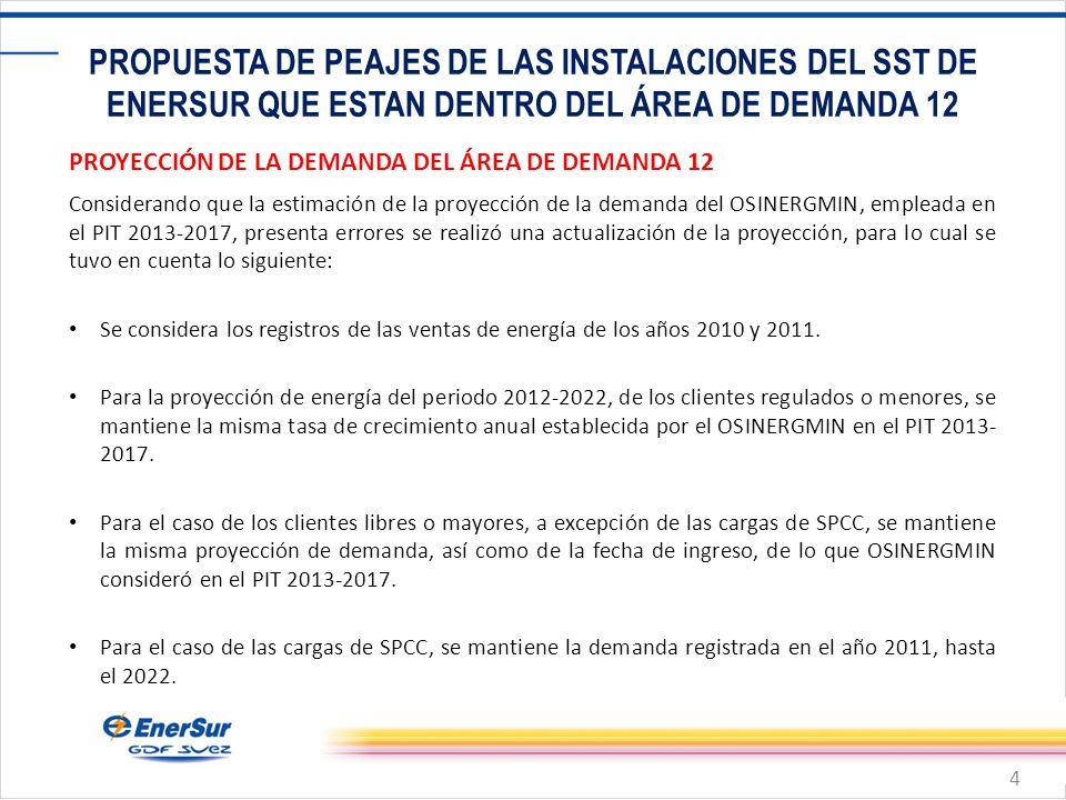 4 PROPUESTA DE PEAJES DE LAS INSTALACIONES DEL SST DE ENERSUR QUE ESTAN DENTRO DEL ÁREA DE DEMANDA 12 PROYECCIÓN DE LA DEMANDA DEL ÁREA DE DEMANDA 12 Considerando que la estimación de la proyección de la demanda del OSINERGMIN, empleada en el PIT 2013-2017, presenta errores se realizó una actualización de la proyección, para lo cual se tuvo en cuenta lo siguiente: Se considera los registros de las ventas de energía de los años 2010 y 2011.