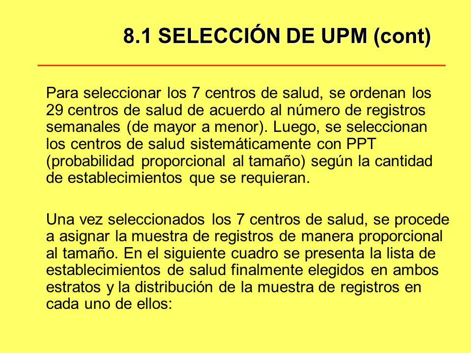 8.1 SELECCIÓN DE UPM (cont) Para seleccionar los 7 centros de salud, se ordenan los 29 centros de salud de acuerdo al número de registros semanales (d