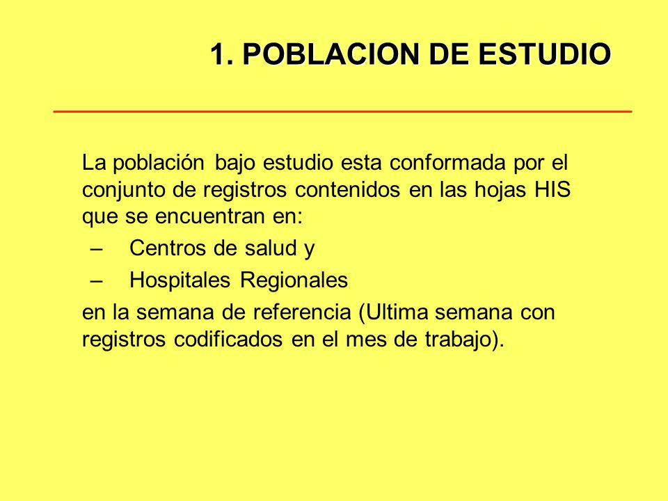 1. POBLACION DE ESTUDIO La población bajo estudio esta conformada por el conjunto de registros contenidos en las hojas HIS que se encuentran en: – Cen