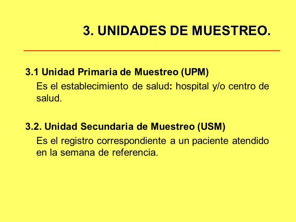 3. UNIDADES DE MUESTREO. 3.1 Unidad Primaria de Muestreo (UPM) Es el establecimiento de salud: hospital y/o centro de salud. 3.2. Unidad Secundaria de