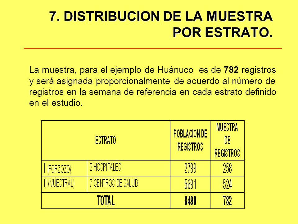 7. DISTRIBUCION DE LA MUESTRA POR ESTRATO. La muestra, para el ejemplo de Huánuco es de 782 registros y será asignada proporcionalmente de acuerdo al