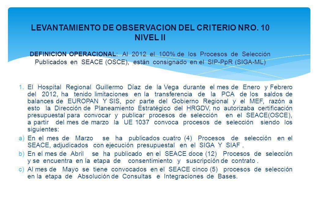 1.El Hospital Regional Guillermo Díaz de la Vega durante el mes de Enero y Febrero del 2012, ha tenido limitaciones en la transferencia de la PCA de l