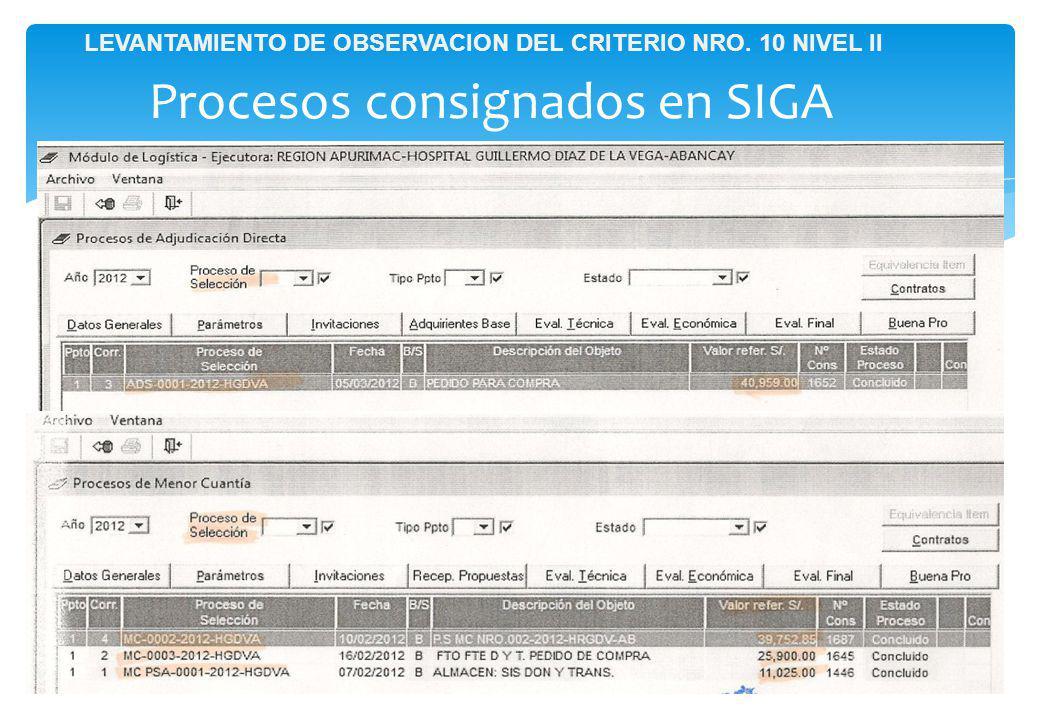 Procesos consignados en SIGA LEVANTAMIENTO DE OBSERVACION DEL CRITERIO NRO. 10 NIVEL II