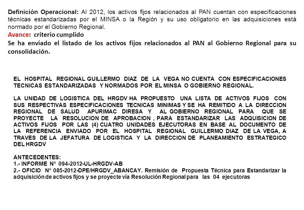 Definición Operacional: Al 2012, los activos fijos relacionados al PAN cuentan con especificaciones técnicas estandarizadas por el MINSA o la Región y