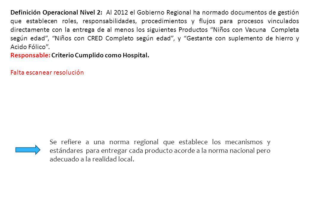 Definición Operacional Nivel 2: Al 2012 el Gobierno Regional ha normado documentos de gestión que establecen roles, responsabilidades, procedimientos