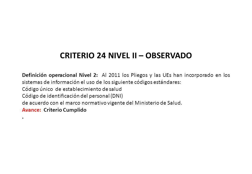 CRITERIO 24 NIVEL II – OBSERVADO Definición operacional Nivel 2: Al 2011 los Pliegos y las UEs han incorporado en los sistemas de información el uso d