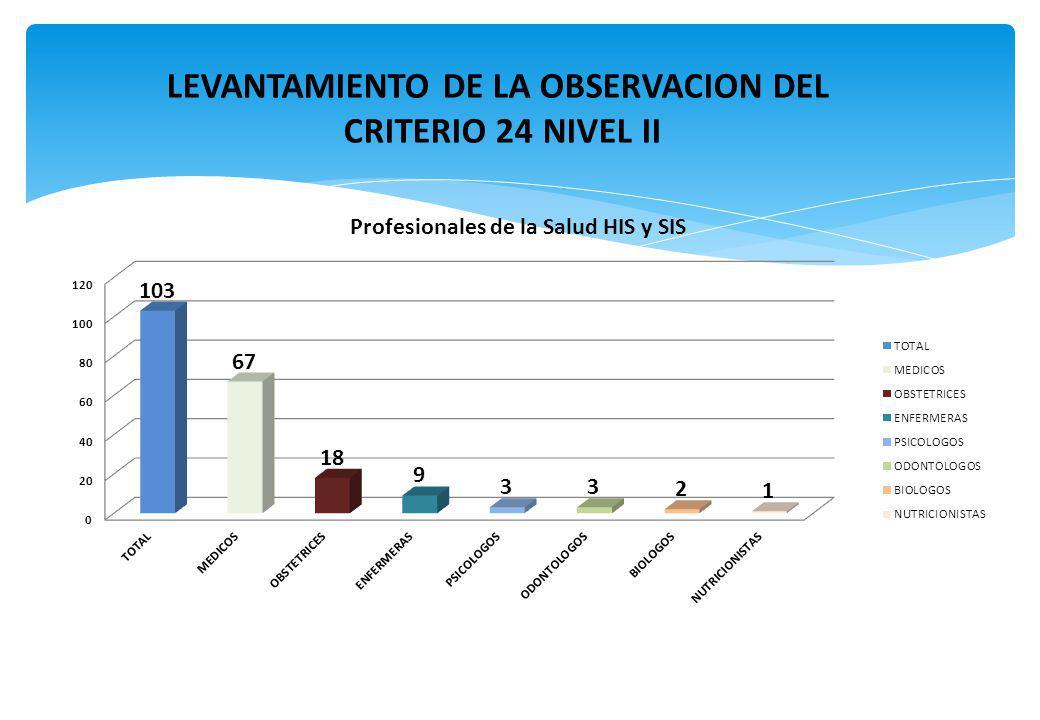 LEVANTAMIENTO DE LA OBSERVACION DEL CRITERIO 24 NIVEL II