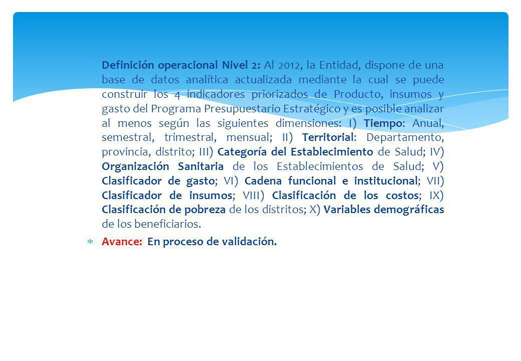 Definición operacional Nivel 2: Al 2012, la Entidad, dispone de una base de datos analítica actualizada mediante la cual se puede construir los 4 indi