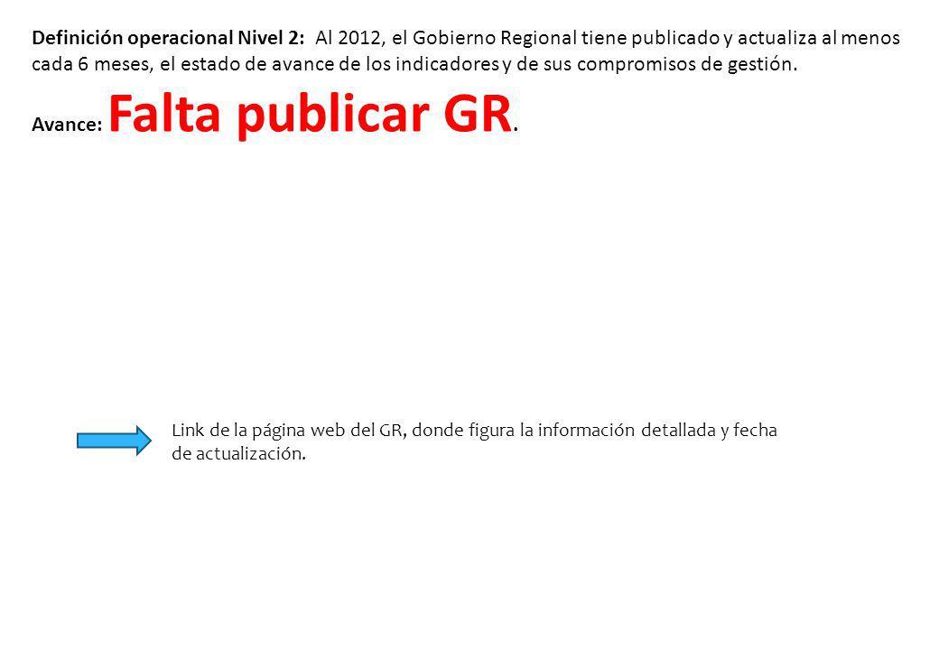 Definición operacional Nivel 2: Al 2012, el Gobierno Regional tiene publicado y actualiza al menos cada 6 meses, el estado de avance de los indicadore