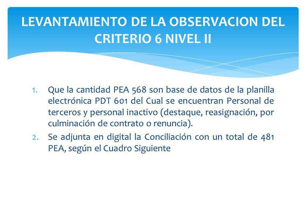 1.Que la cantidad PEA 568 son base de datos de la planilla electrónica PDT 601 del Cual se encuentran Personal de terceros y personal inactivo (destaq