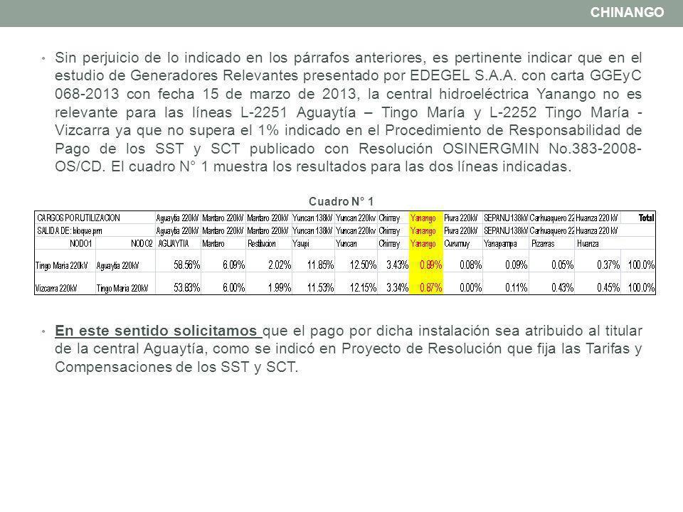 ii) No incluir como Generador Relevante a la CH RENOVANDES en la responsabilidad de pago de la línea L-2256 Yanango - Pachachaca en 220 kV.