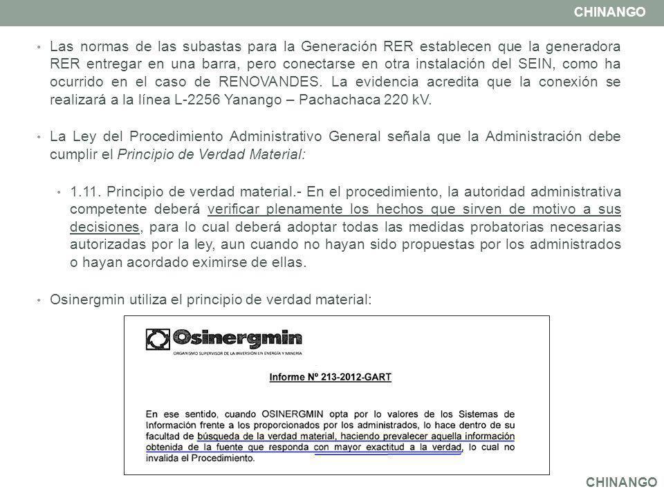 Las normas de las subastas para la Generación RER establecen que la generadora RER entregar en una barra, pero conectarse en otra instalación del SEIN