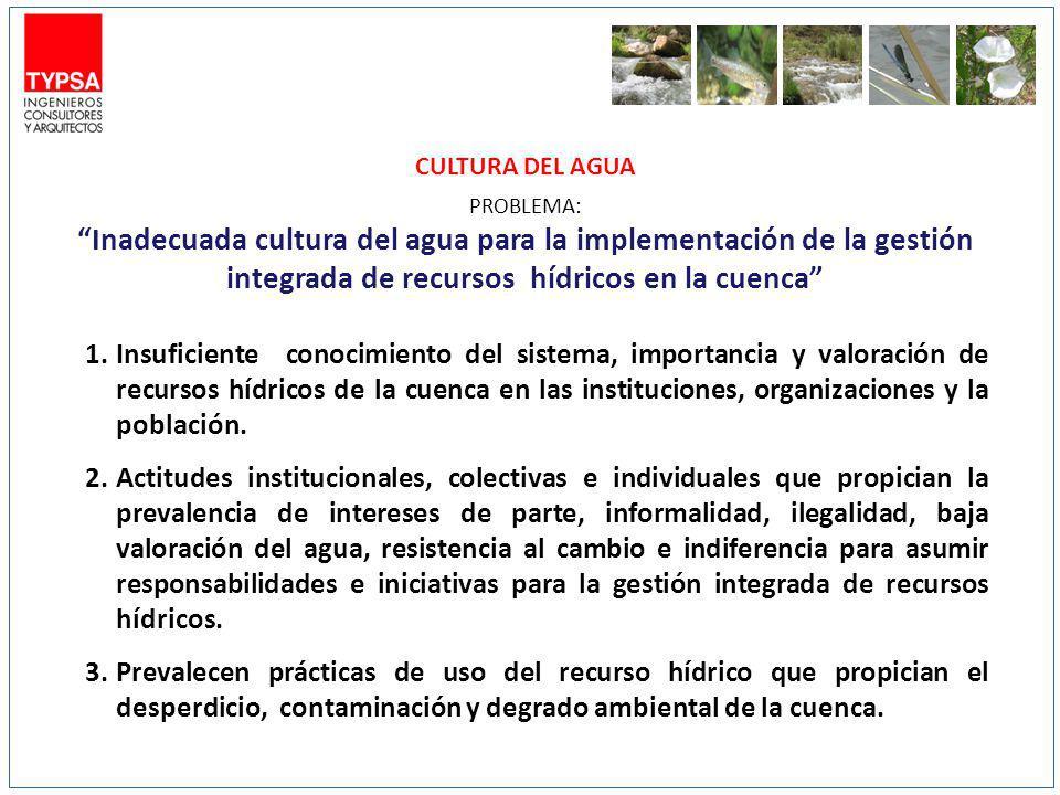 CULTURA DEL AGUA PROBLEMA: Inadecuada cultura del agua para la implementación de la gestión integrada de recursos hídricos en la cuenca 1.Insuficiente conocimiento del sistema, importancia y valoración de recursos hídricos de la cuenca en las instituciones, organizaciones y la población.