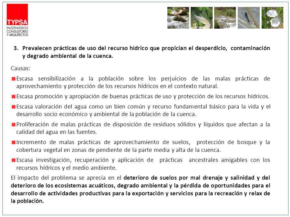 3.Prevalecen prácticas de uso del recurso hídrico que propician el desperdicio, contaminación y degrado ambiental de la cuenca. Causas: Escasa sensibi