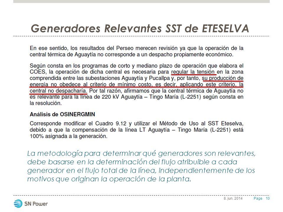 10 Page Generadores Relevantes SST de ETESELVA 8. jun. 2014 La metodología para determinar qué generadores son relevantes, debe basarse en la determin