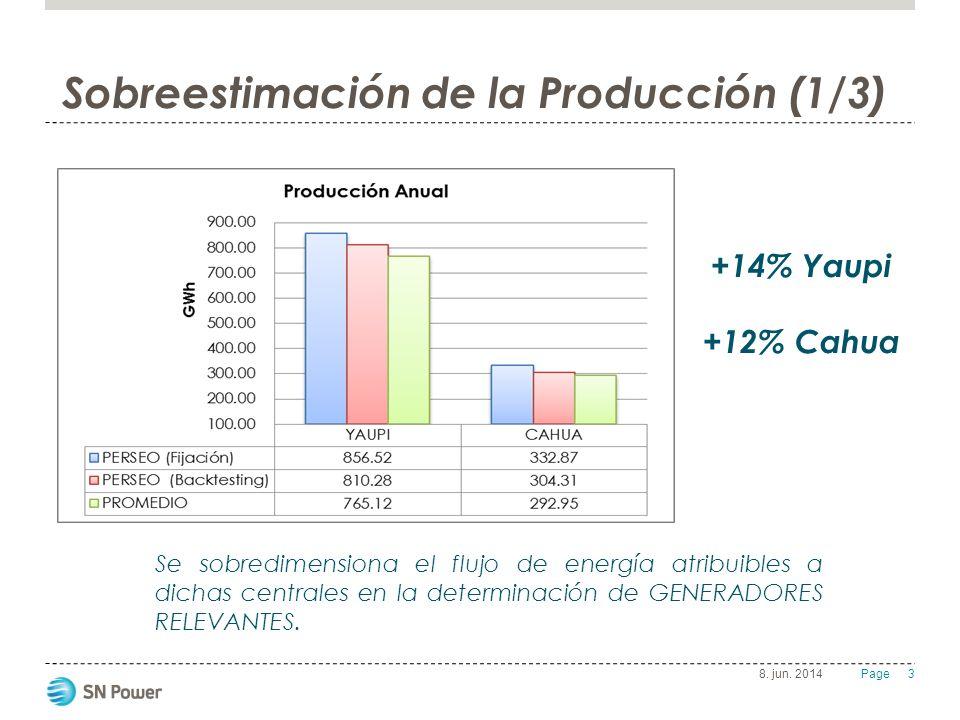 3 Page 8. jun. 2014 Sobreestimación de la Producción (1/3) Se sobredimensiona el flujo de energía atribuibles a dichas centrales en la determinación d