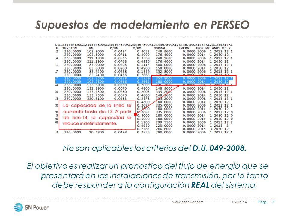 7 Page Supuestos de modelamiento en PERSEO 8-Jun-14www.snpower.com No son aplicables los criterios del D.U. 049-2008. El objetivo es realizar un pronó