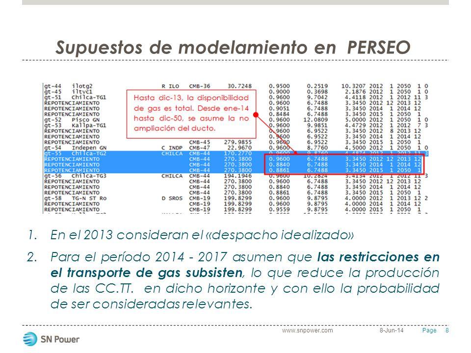 8 Page Supuestos de modelamiento en PERSEO 8-Jun-14www.snpower.com 1.En el 2013 consideran el «despacho idealizado» 2.Para el período 2014 - 2017 asum